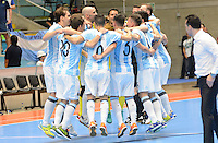 MEDELLIN - COLOMBIA- 25-09-2016: Jugadores de Argentina celebran despues de derrotar a Egipto durante partido de cuartos de final de la Copa Mundial de Futsal de la FIFA Colombia 2016 jugado en el Coliseo Ivan de Bedout en Medellín, Colombia. /  Players of Argentina celebrate after defeating to Egypt during match of the quarter finals of the FIFA Futsal World Cup Colombia 2016 played at Ivan de Bedout coliseum in Medellin, Colombia. Photo: VizzorImage / Leon Monsalve /