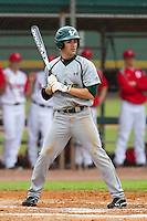 USF Bulls second baseman Luis Llerena #2 during a game against the Ohio State Buckeyes at the Big Ten/Big East Challenge at Walter Fuller Complex on February 17, 2012 in St. Petersburg, Florida.  (Mike Janes/Four Seam Images)
