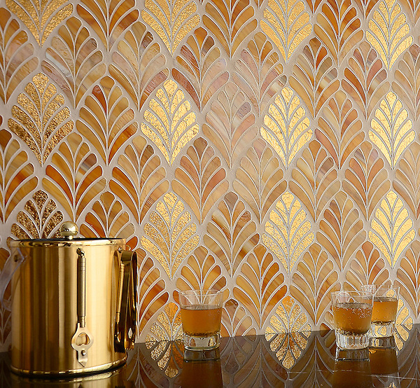 Margot, a handmade mosaic shown in Tiger's Eye Jewel Glass and 24K Gold Glass, is part of the Aurora&reg; collection by Sara Baldwin for New Ravenna.<br />