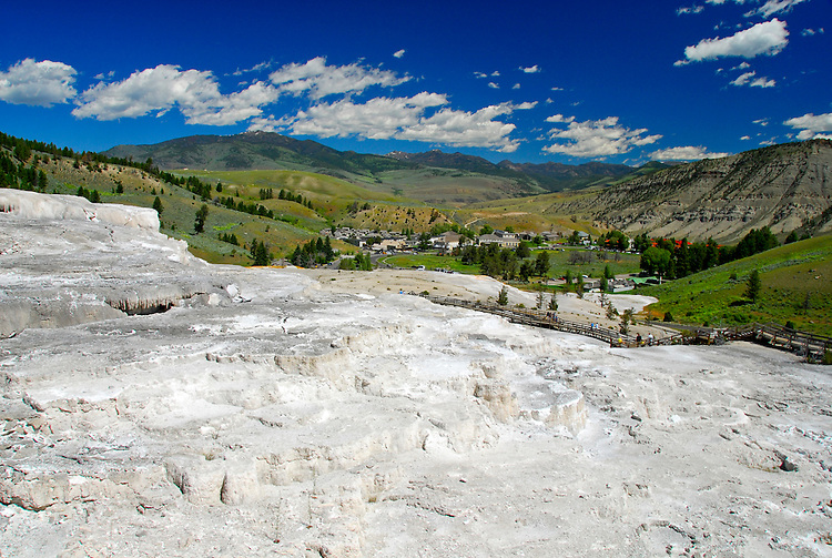 Viewing town of Mammoth Hot Springs from the Upper Terrace-Yellowstone National Park