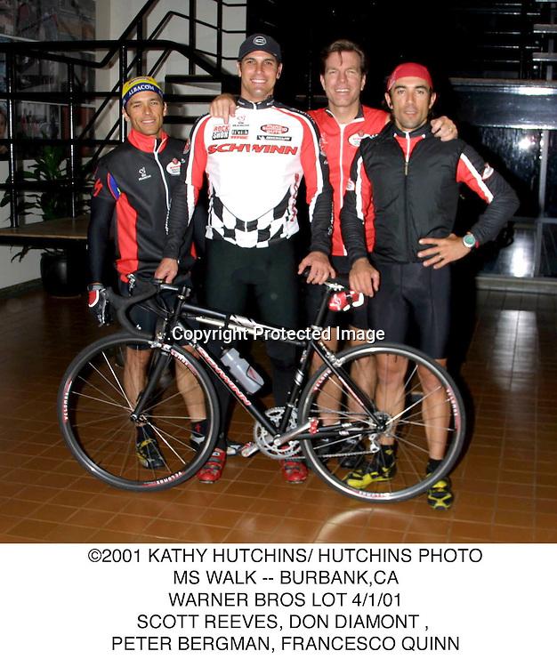 ©2001 KATHY HUTCHINS/ HUTCHINS PHOTO.MS WALK -- BURBANK,CA.WARNER BROS LOT 4/1/01.SCOTT REEVES, DON DIAMONT, PETER BERGMAN, FRANCESCO QUINN.