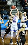 SIOUX FALLS, SD - MARCH 19: Olivia Robertson #20 from Lubbock Christian lays the ball up against Central Missouri during their quarterfinal game at the 2018 Elite Eight Women's NCAA DII Basketball Championship at the Sanford Pentagon in Sioux Falls, SD. (Photo by Dave Eggen/Inertia)