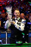1st March 2020; Waterfront, Southport, Merseyside, England; World Snooker Championship, Coral Players Championship; Judd Trump (ENG) shows off the trophy after his 10-4 victory final over Yan Bingtao (CHN) in today's final