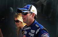 Feb 10, 2008; Daytona Beach, FL, USA; Nascar Sprint Cup Series driver Jimmie Johnson with wife Chandra Johnson during qualifying for the Daytona 500 at Daytona International Speedway. Mandatory Credit: Mark J. Rebilas-US PRESSWIRE