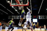 GRONINGEN - Basketbal, Donar - ZZ Leiden, Martiniplaza,  Dutch Basketball League, seizoen 2017-2018, 09-12-2017,  Leiden speler Worthy de Jong blokt een schot van Donar speler Teddy Gipson