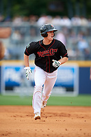 Nashville Sounds right fielder Mark Canha (16) running the bases during a game against the New Orleans Baby Cakes on May 1, 2017 at First Tennessee Park in Nashville, Tennessee.  Nashville defeated New Orleans 6-4.  (Mike Janes/Four Seam Images)