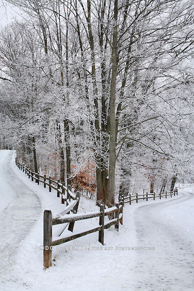 A Pastoral Scene Of Snow Covered Fences, Trees And Walking Paths At Sharon Woods In Southwestern Ohio