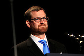 Dr. Kent Brantly, a U.S. medical missionary who contracted and survived the deadly disease Ebola in July, 2014 while working as a doctor in Liberia, attends the National Prayer Breakfast at the Washington Hilton Hotel in Washington, D.C. on February 5, 2015.  U.S. and international leaders from different parties and religions gather annually at this event for an hour devoted to faith and prayer.<br /> Credit: Dennis Brack / Pool via CNP