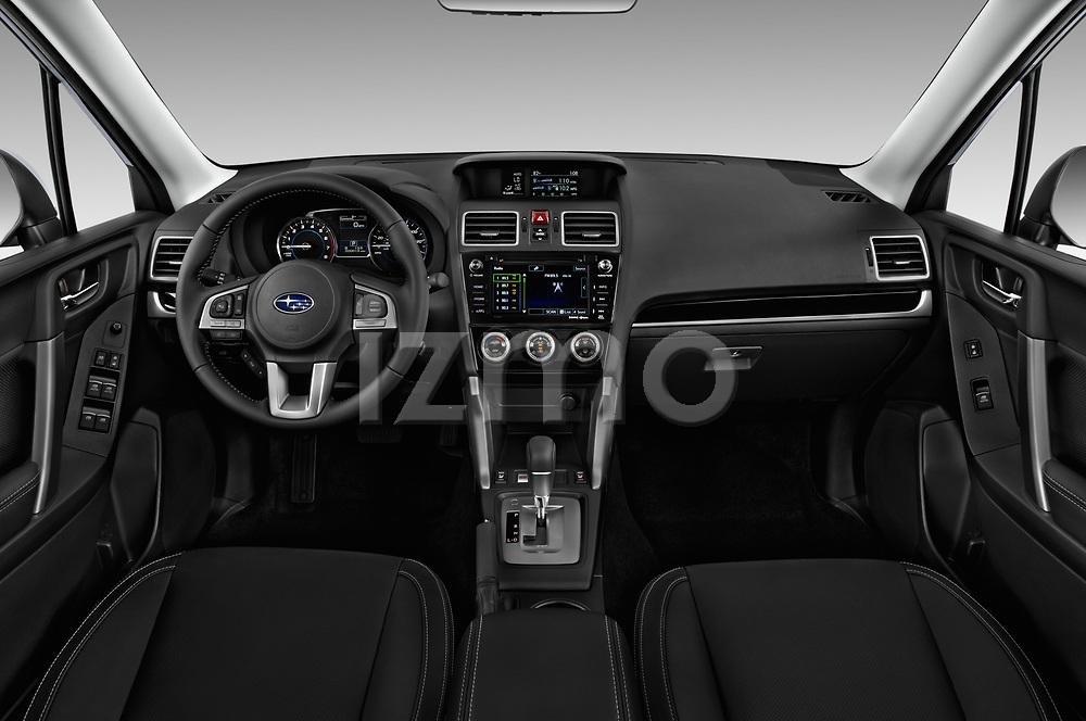 Stock photo of straight dashboard view of 2017 Subaru Forester Comfort 5 Door Wagon Dashboard