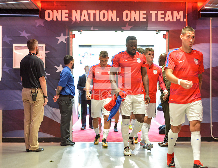 Harrison, N.J. - Friday September 01, 2017: Jozy Altidore, Clint Dempsey during a 2017 FIFA World Cup Qualifying (WCQ) round match between the men's national teams of the United States (USA) and Costa Rica (CRC) at Red Bull Arena.