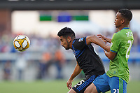 SAN JOSE, CA - SEPTEMBER 30: Andres Rios #25 of the San Jose Earthquakes  is marked by Jordy Delem #21 of the Seattle Sounders FC during a Major League Soccer (MLS) match between the San Jose Earthquakes and the Seattle Sounders on September 30, 2019 at Avaya Stadium in San Jose, California.