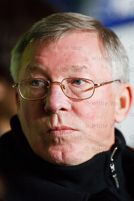 Manchester United manager Sir Alex Ferguson takes his seat at Celtic Park