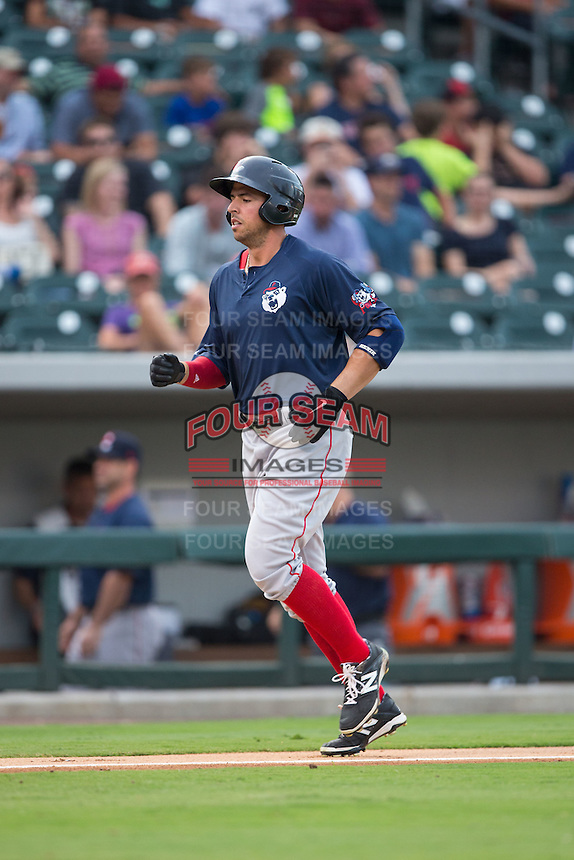 Chris Marrero (21) of the Pawtucket Red Sox jogs towards home plate after hitting a home run against the Charlotte Knights at BB&T BallPark on July 6, 2016 in Charlotte, North Carolina.  The Knights defeated the Red Sox 8-6.  (Brian Westerholt/Four Seam Images)