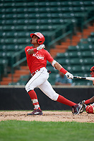 Jeryy Alejo (9) follows through on a swing during the Dominican Prospect League Elite Underclass International Series, powered by Baseball Factory, on July 21, 2018 at Schaumburg Boomers Stadium in Schaumburg, Illinois.  (Mike Janes/Four Seam Images)