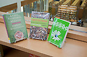 Books on environmental issues on display at a eco friendly San Mateo Public Library. The library integrates significant green building practices and achieved LEED Silver certification. Green features include extensive daylighting, efficient underfloor air supply, venting windows, low VOC materials, native plant landscaping, and much more. San Mateo, California, USA