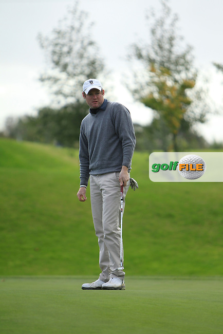 Ciaran Molloy on the 8th during Round 2 of The Cassidy Golf 103rd Irish PGA Championship in Roganstown Golf Club on Friday 11th October 2013.<br /> Picture:  Thos Caffrey / www.golffile.ie