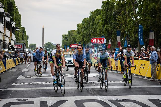 Orica GreenEDGE in the victory lap, Tour de France, Stage 21: Évry > Paris Champs-Élysées, UCI WorldTour, 2.UWT, Paris Champs-Élysées, France, 27th July 2014, Photo by Pim Nijland