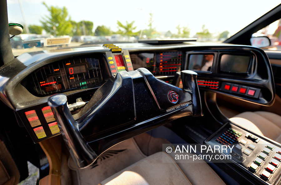 Garden City, New York. 15th June 2013. A Knight Rider Car, which was used for promo shots for the 2008 TV pilot, is at the Eternal Con Pop Culture Expo, which was hosted by the Cradle of Aviation Museum of Long Island. The dashboard's lit control panel displayed changing information and spoke messages.