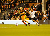 Kamil Grosicki of Hull City takes on Ryan Fredericks of Fulham during the Sky Bet Championship match between Fulham and Hull City at Craven Cottage, London, England on 13 September 2017. Photo by Carlton Myrie.