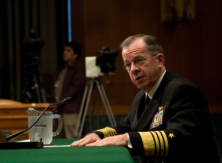WASHINGTON, DC - September 15: Chairman of the Joint Chiefs of Staff, Admiral Michael Mullen, testifies before the Senate Armed Services Committee.  (Photo by Ryan Kelly/Congressional Quarterly)