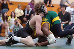 Manhattan Beach, CA 01/29/10 - In the 135 lbs. weight category Mira Costa's Tajee Mobley wrestled Laban Shylee of Peninsula.  Peninsula defeated Mira Costa 49-15.