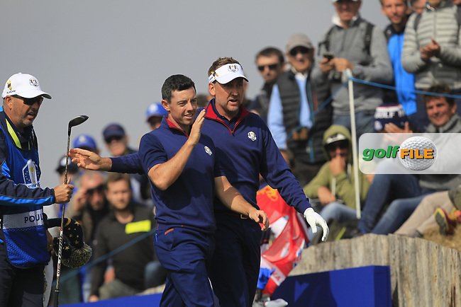 Rory McIlroy and Ian Poulter (Team Europe) on the 3rd tee during the Friday Foursomes at the Ryder Cup, Le Golf National, Ile-de-France, France. 28/09/2018.<br /> Picture Thos Caffrey / Golffile.ie<br /> <br /> All photo usage must carry mandatory copyright credit (© Golffile | Thos Caffrey)