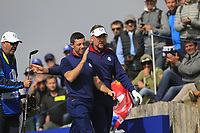 Rory McIlroy and Ian Poulter (Team Europe) on the 3rd tee during the Friday Foursomes at the Ryder Cup, Le Golf National, Ile-de-France, France. 28/09/2018.<br /> Picture Thos Caffrey / Golffile.ie<br /> <br /> All photo usage must carry mandatory copyright credit (&copy; Golffile | Thos Caffrey)