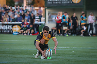 Laurence May of Ealing Trailfinders lines up the conversion of the opening try during the Greene King IPA Championship match between Ealing Trailfinders and London Irish Rugby Football Club  at Castle Bar, West Ealing, England  on 1 September 2018. Photo by David Horn.