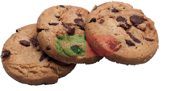three chocolate chip cookies on shadowless white background