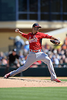 St. Louis Cardinals pitcher Joe Kelly (58) during a spring training game against the Detroit Tigers on March 3, 2014 at Joker Marchant Stadium in Lakeland, Florida.  Detroit defeated St. Louis 8-5.  (Mike Janes/Four Seam Images)