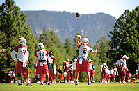 Jul 30, 2008; Flagstaff, AZ, USA; Arizona Cardinals quarterback (2) Brian St. Pierre throws a pass during training camp on the campus of Northern Arizona University. Mandatory Credit: Mark J. Rebilas-