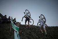 Thijs Van Amerongen (NED/Telenet-Fidea) &amp; Stephen Hyde (USA/Cannondale) up the 'Wall'<br /> <br /> 2016 CX Superprestige Spa-Francorchamps (BEL)