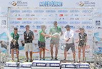 Podium : (2nd) Darren Bundock &amp; Nina Curtis (AUS)<br /> (1st overall) Jason Waterhouse &amp; Lisa Darmanin (AUS)<br /> (3) Euan McNicol &amp; Lucinda Whitty (AUS)<br /> Racing / Day 7 - Nacra 17<br /> ISAF Sailing World Cup - Melbourne<br /> Sandringham Yacht Club<br /> Sunday 14  December 2014<br /> &copy; Sport the library / Courtney Crow