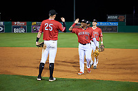 Batavia Muckdogs Albert Guaimaro (13) and Jack Strunc (47) high five Sean Reynolds (25) after a NY-Penn League game against the Lowell Spinners on July 11, 2019 at Dwyer Stadium in Batavia, New York.  Batavia defeated Lowell 5-2.  (Mike Janes/Four Seam Images)