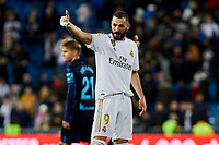 Karim Benzema of Real Madrid celebrate the victory after La Liga match between Real Madrid and Real Sociedad at Santiago Bernabeu Stadium in Madrid, Spain. November 23, 2019. (ALTERPHOTOS/A. Perez Meca)<br /> Liga Spagna 2019/2020 <br /> Real Madrid - Real Sociedad <br /> Foto Alterphotos / Insidefoto <br /> ITALY ONLY