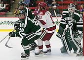 Carl Hesler (Dartmouth - 20), Kyle Criscuolo (Harvard - 11), James Kruger (Dartmouth - 35) - The Harvard University Crimson tied the visiting Dartmouth College Big Green 3-3 in both team's first game of the season on Saturday, November 1, 2014, at Bright-Landry Hockey Center in Cambridge, Massachusetts.