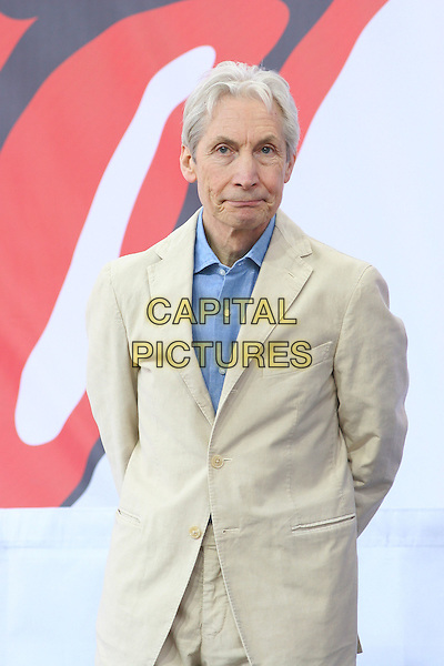 CHARLIE WATTS.The Rolling Stones Kick Off World Tour with Surprise Performance, Julliard Music School Plaza, New York City, USA, May 10th 2005..half length cream jacket blue shirt.Ref: IW.www.capitalpictures.com.sales@capitalpictures.com.©Ian Wilson/Capital Pictures.