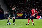 Atletico de Madrid's Thomas Lemar and AS Monaco's Giulian Biancone during UEFA Champions League match between Atletico de Madrid and AS Monaco at Wanda Metropolitano Stadium in Madrid, Spain. November 28, 2018. (ALTERPHOTOS/A. Perez Meca)