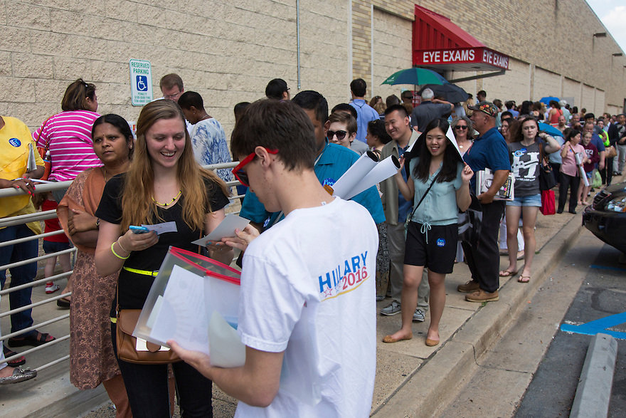 Hundreds line up outside of Costco,  where former Secretary of State Hillary Clinton attends a signing her new book, 'Hard Choices: A Memoir,' in Arlington, VA.  Clinton is on a nationwide tour to promote the new memoir with a book signings, speeches & media interviews.