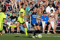 Kansas City, MO - Saturday June 25, 2016: Havana Solaun, Erika Tymrak during a regular season National Women's Soccer League (NWSL) match at Swope Soccer Village.