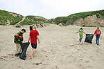 Pacific Elementary School Students On Beach Cleanup