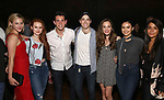 "Lili Reinhart. Madelaine Petsch, Casey Cott, Corey Cott, Laura Osnes, Camila Mendes and Marisol Nichols backstage at Broadway's ""Bandstand"" at the Bernard Jacobs Theate on May 19, 2017 in New York City."