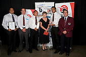 Top Team winner De La Salle College 1st XV with Manukau Courier Editor Judith Tucker. . Counties Manukau Sport 17th annual Sporting Excellence Awards held at the Telstra Clear Pacific Events Centre, Manukau City, on November 27th 2008.