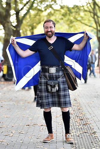07.09.2014. Dortmund, Germany.   international match Germany Scotland  in Signal Iduna Park in Dortmund. Scottish supporter in kilt before the Signal Iduna Park