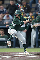 Michigan State Spartans outfielder Bryce Kelley (17) at bat against the Michigan Wolverines during the NCAA baseball game on April 18, 2017 at Ray Fisher Stadium in Ann Arbor, Michigan. Michigan defeated Michigan State 12-4. (Andrew Woolley/Four Seam Images)