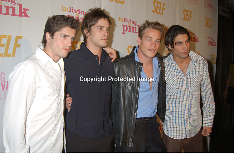 Scott Bailey, Agim Kaba, Marty West and Justin Kloskee                               ..at the Self Magazine party for the Young Survival Coalition's 5th Anniversary  on October 9, 2003 at ..Angel Orensanz Foundation...Photo By Robin Platzer, Twin Images