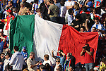 24 JUN 2010: Italy fans with a large flag. The Slovakia National Team defeated the Italy National Team 3-2 at Ellis Park Stadium in Johannesburg, South Africa in a 2010 FIFA World Cup Group F match.