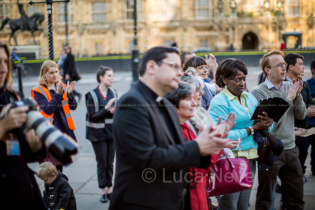 London, 16/04/2014. Today, &quot;End Hunger Fast&quot; campaigners, supported by the Trussel Trust, Church Action on Poverty, Quakers, Just Fair and Evangelical Alliance, held a candle light vigil in Old Palace Yard outside the Houses of Parliament. The demonstration was called &lt;&lt;to come together and offer our voices and prayers in support for government action on hunger&gt;&gt; and against the shocking figures from the Trussel Trust (the biggest food bank charity in the UK), which shown that more than 900,000 people relied on food banks to eat in the past year, an increase of 163 per cent, which is clearly related with people who incurred in benefit sanctions. The Trussell Trust chairman, Chris Mould, in an interview released to the newspaper &quot;The Independent&quot; said: &lt;&lt;the figures were &quot;shocking in 21st century Britain&quot;. He added: &quot;Perhaps most worrying of all, this figure is just the tip of the iceberg of UK food poverty. It doesn&rsquo;t include those helped by other emergency food providers, those living in towns where there is no food bank, people who are too ashamed to seek help or the large number of people who are only just coping by eating less and buying cheap food&quot;&gt;&gt;.<br /> <br /> For more information please click here http://bit.ly/1hXF7up