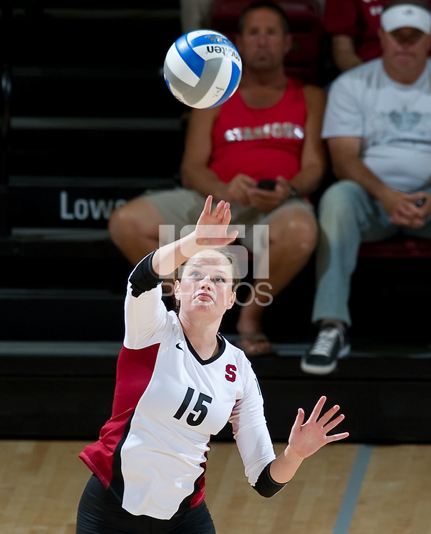 STANFORD, CA - September 2, 2010: Karissa Cook during a volleyball match against UC Irvine in Stanford, California. Stanford won 3-0.