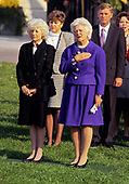 First lady Barbara Bush, right, and Olga Šplíchalová, wife of President Václav Havel of Czechoslovakia, left, attend a State Arrival ceremony on the South Lawn of the White House on October 22, 1991.  President Havel is visiting Washington for a State Visit.<br /> Credit: Ron Sachs / CNP